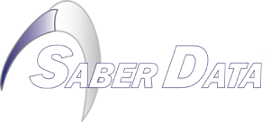 Saber Data Logo: White
