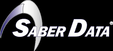 Saber Data Logo: White
